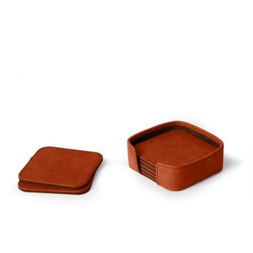 Set aus 6 quadratischen Untersetzern - Cognac - Pflanzlich Gegerbtes Leder