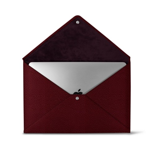 MacBook Pro 13 inch Case Envelope - Burgundy - Granulated Leather