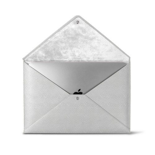MacBook Pro 13 inch Case Envelope - White - Granulated Leather