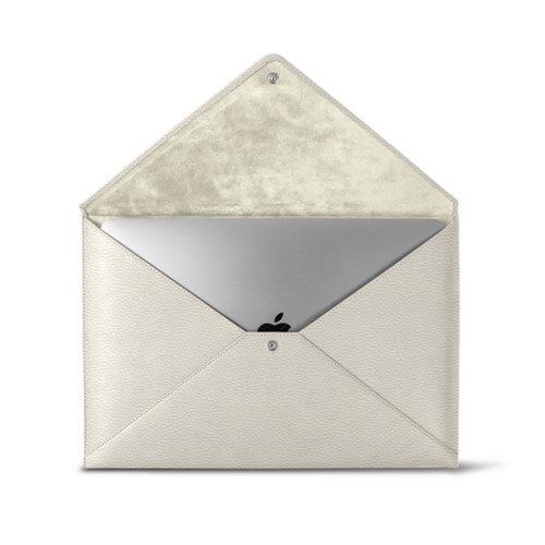 MacBook Pro 13 inch Case Envelope - Off-White - Granulated Leather