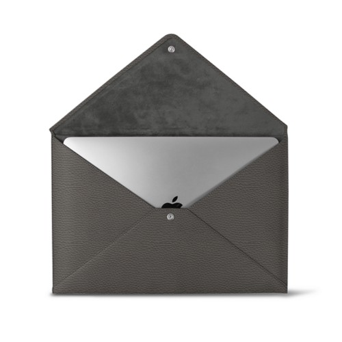 MacBook Pro 13 inch Case Envelope - Mouse-Grey - Granulated Leather