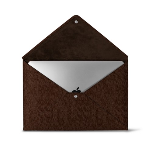 MacBook Pro 13 inch Case Envelope - Dark Brown - Granulated Leather