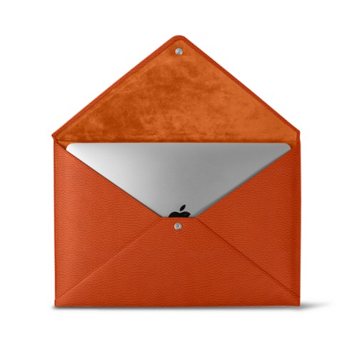 MacBook Pro 13 inch Case Envelope - Orange - Granulated Leather