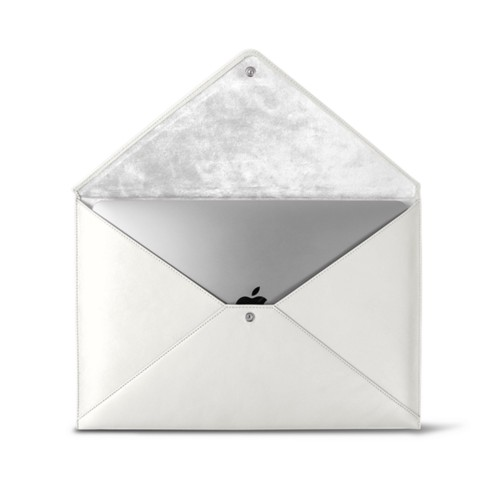 MacBook Pro 13 inch Case Envelope - White - Smooth Leather