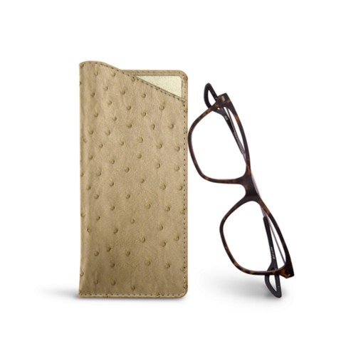 Thin glasses cases - Beige - Real Ostrich Leather