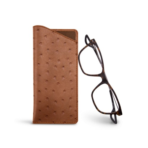 Thin glasses cases - Tan - Real Ostrich Leather