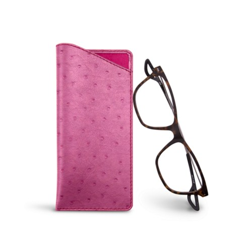 Thin glasses cases - Fuchsia  - Real Ostrich Leather