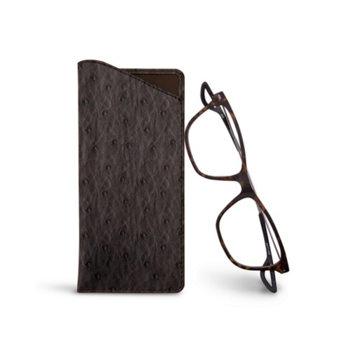Thin Glasses Cases - Brown - Real Ostrich Leather
