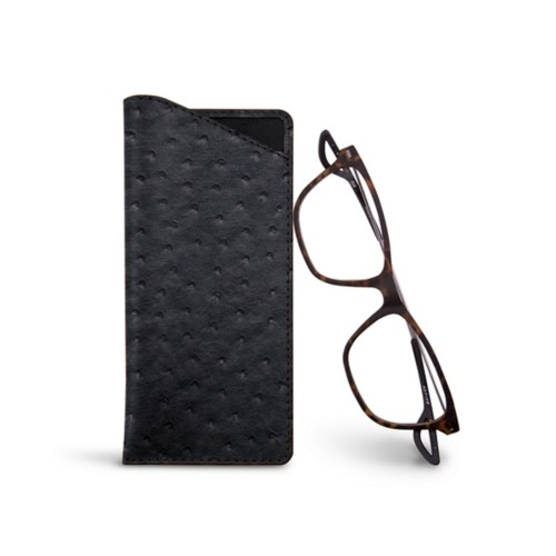 Thin glasses cases - Black - Real Ostrich Leather