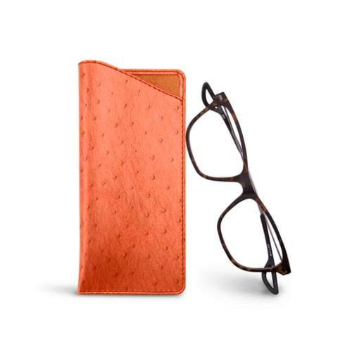 Thin glasses cases - Orange - Real Ostrich Leather