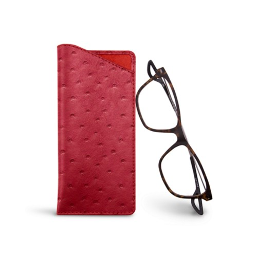 Thin glasses cases - Red - Real Ostrich Leather