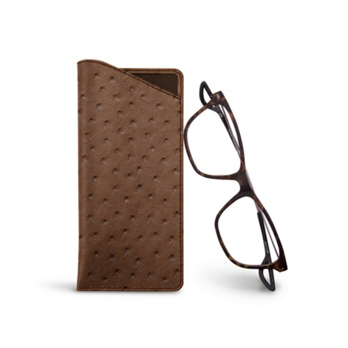 Thin glasses cases - Tobacco - Real Ostrich Leather