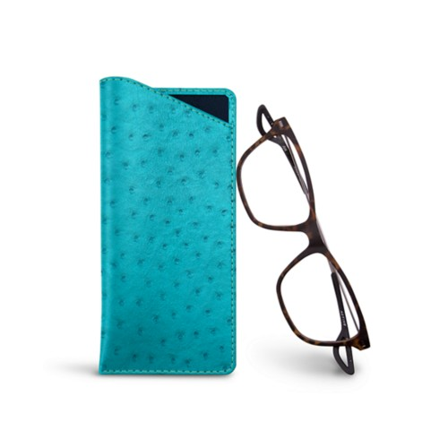 Thin glasses cases - Turquoise - Real Ostrich Leather