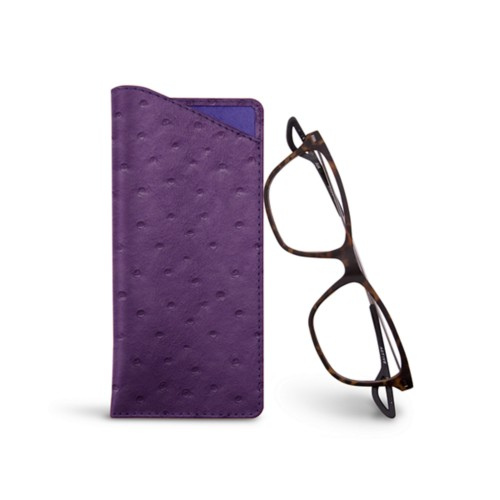 Thin glasses cases - Purple - Real Ostrich Leather