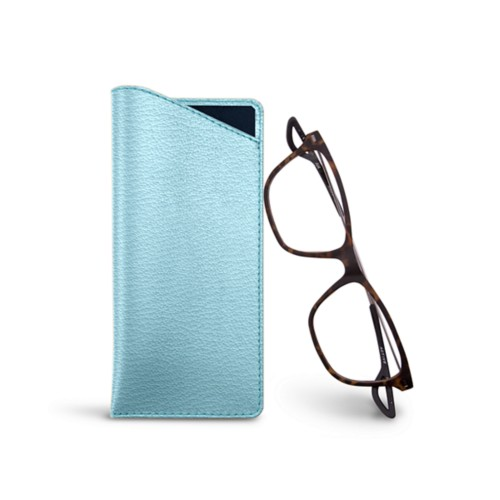 Thin glasses cases - Sky Blue - Goat Leather