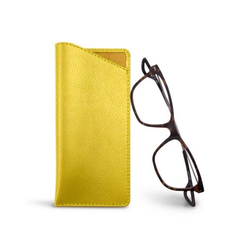 Thin glasses cases - Lemon yellow - Goat Leather