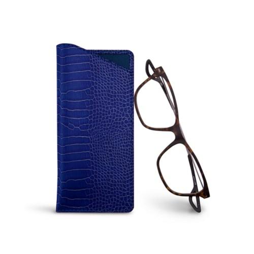Etuis für dünne Brillen - Königsblau  - Leder in Krokodil- Optik