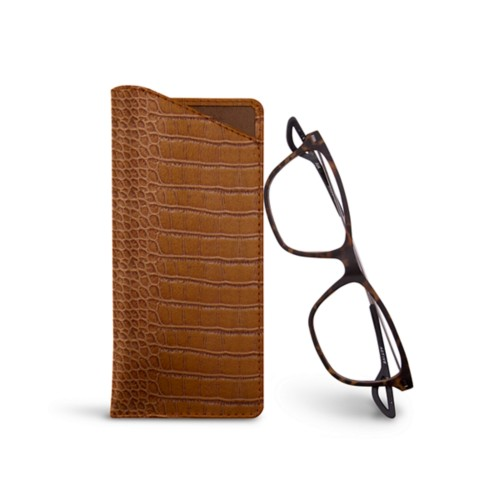 Thin glasses cases - Camel - Crocodile style calfskin