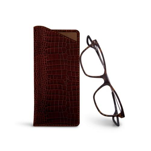 Thin glasses cases - Tan - Crocodile style calfskin
