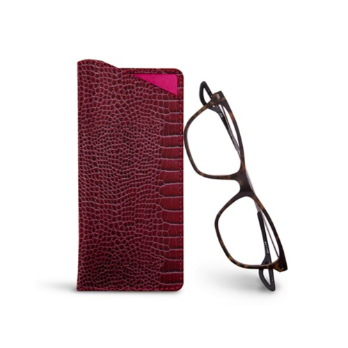 Thin glasses cases - Fuchsia  - Crocodile style calfskin