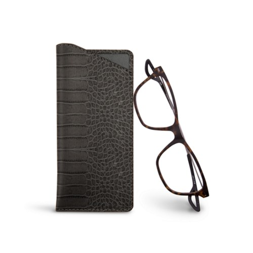 Thin glasses cases - Mouse-Grey - Crocodile style calfskin