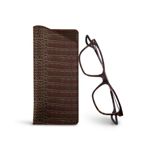 Thin glasses cases - Dark Brown - Crocodile style calfskin