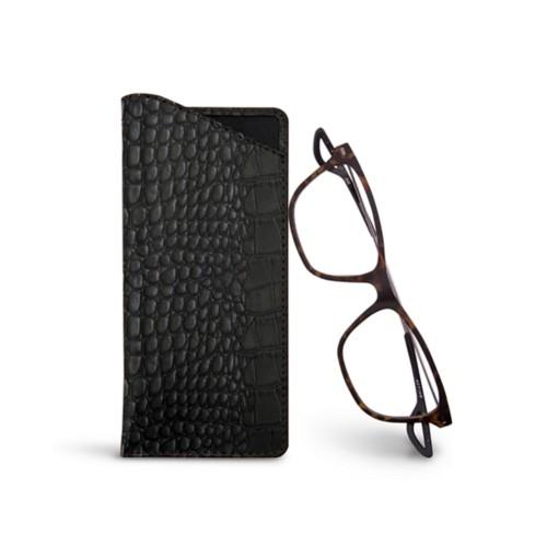 Thin glasses cases - Black - Crocodile style calfskin