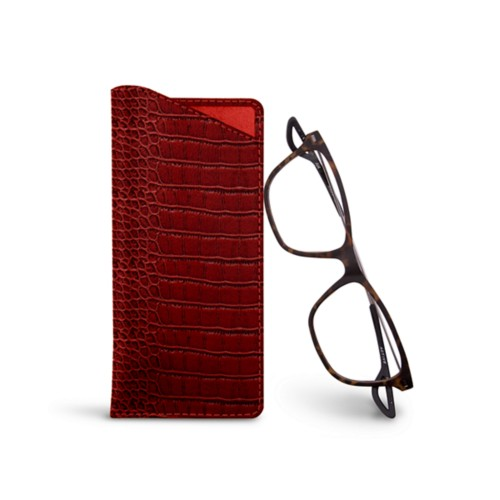 Thin glasses cases - Red - Crocodile style calfskin