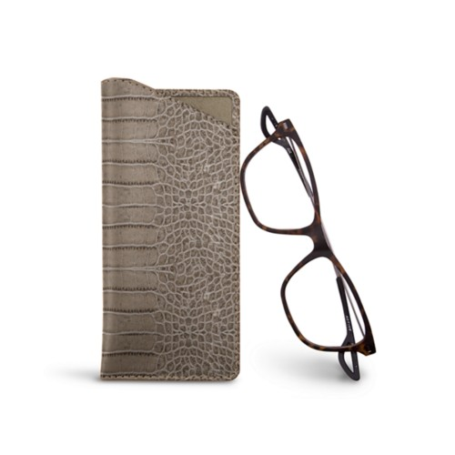 Thin glasses cases - Light Taupe - Crocodile style calfskin