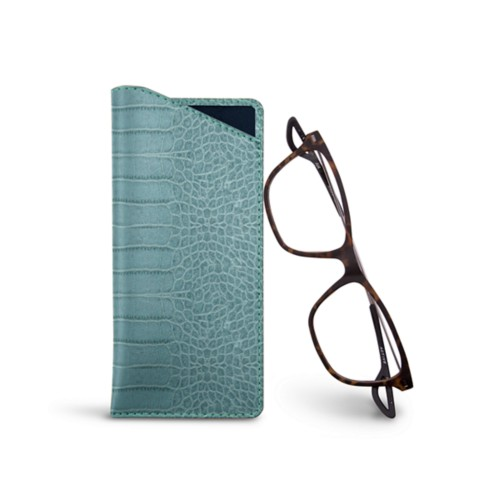 Thin glasses cases - Turquoise - Crocodile style calfskin