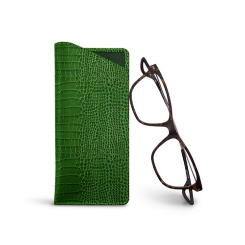 Thin glasses cases - Light Green - Crocodile style calfskin