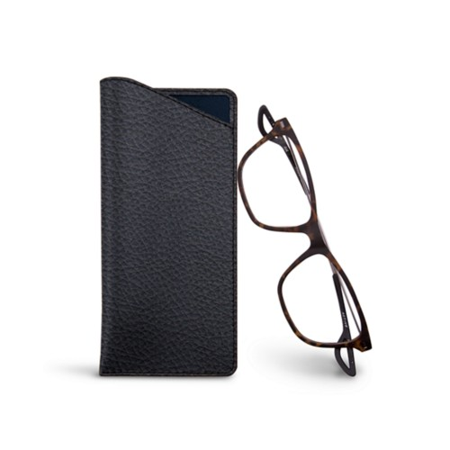 Thin glasses cases - Navy Blue - Granulated Leather