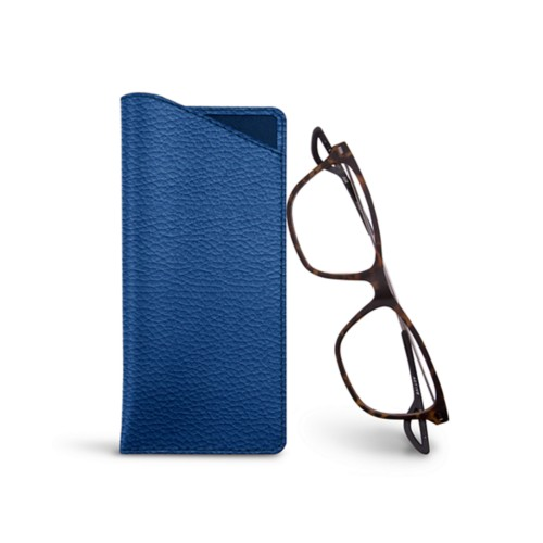 Thin glasses cases - Royal Blue - Granulated Leather