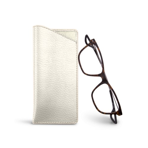 Thin glasses cases - Off-White - Granulated Leather