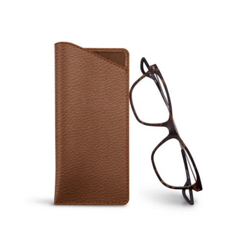 Thin glasses cases - Tan - Granulated Leather