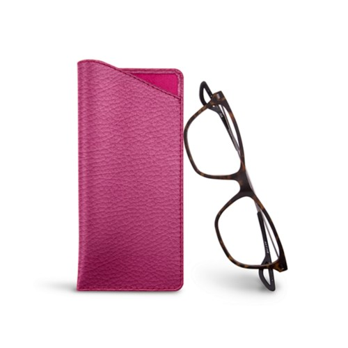 Thin glasses cases - Fuchsia  - Granulated Leather