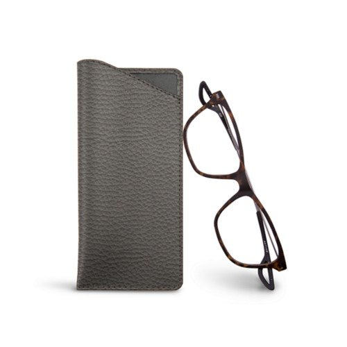 Thin glasses cases - Mouse-Grey - Granulated Leather