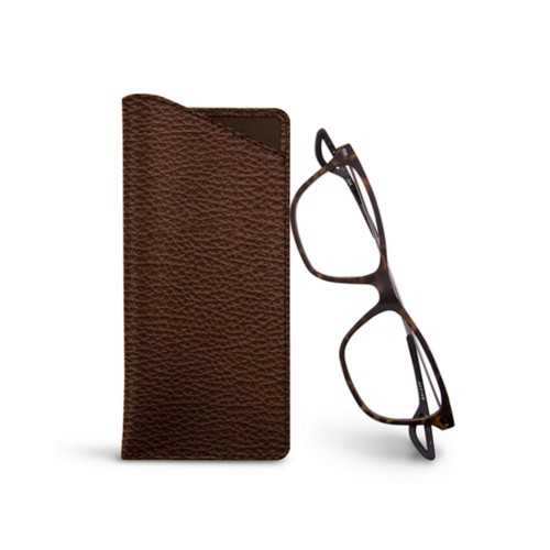 Thin glasses cases - Dark Brown - Granulated Leather