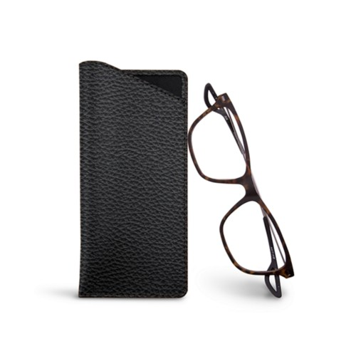 Thin glasses cases - Black - Granulated Leather
