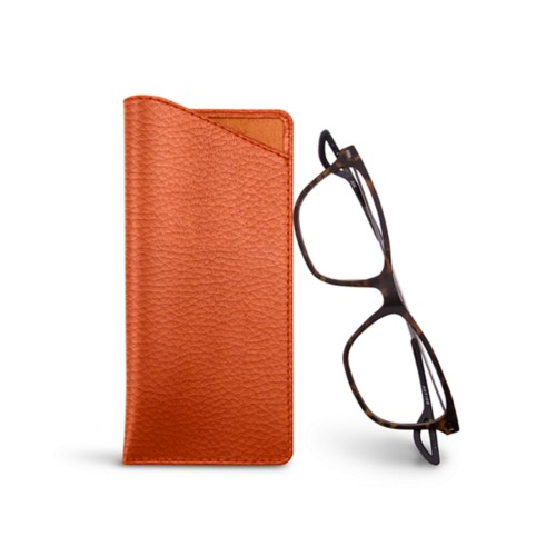 Thin glasses cases - Orange - Granulated Leather
