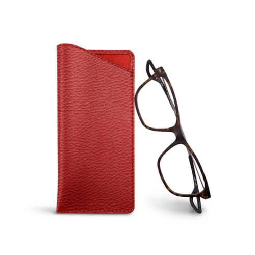 Thin glasses cases - Red - Granulated Leather