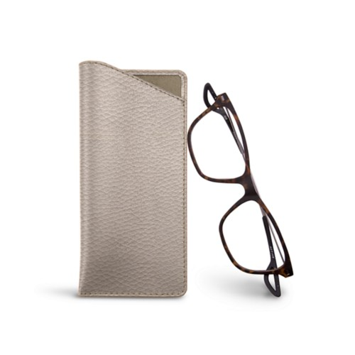 Thin glasses cases - Light Taupe - Granulated Leather