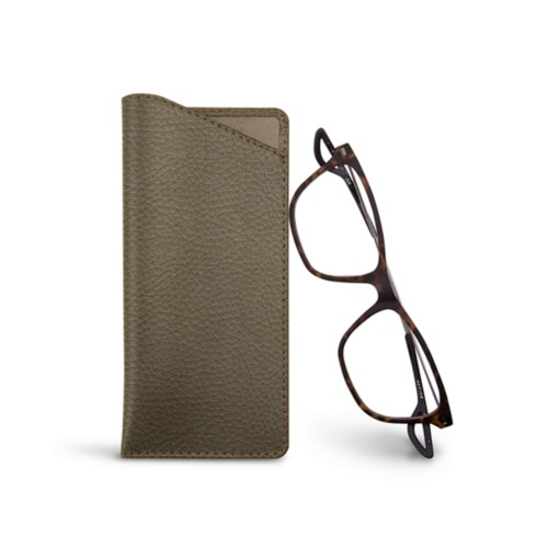 Thin glasses cases - Dark Taupe - Granulated Leather