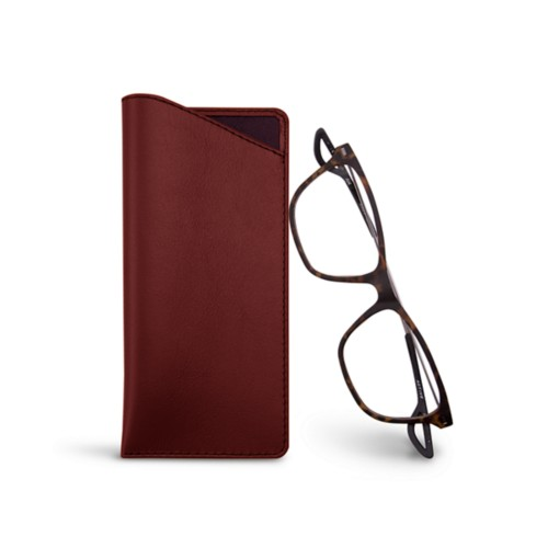 Thin glasses cases - Burgundy - Smooth Leather
