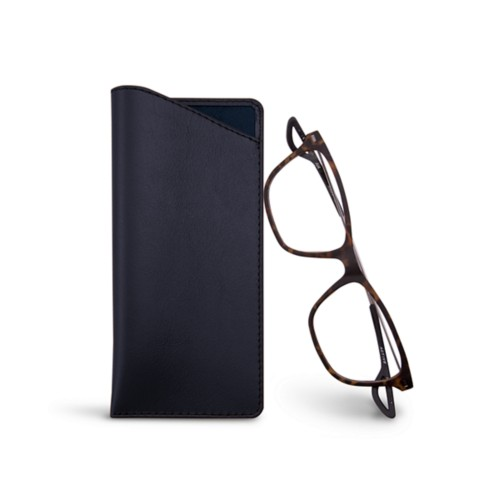 Thin glasses cases - Navy Blue - Smooth Leather