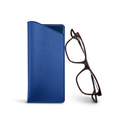Thin glasses cases - Royal Blue - Smooth Leather