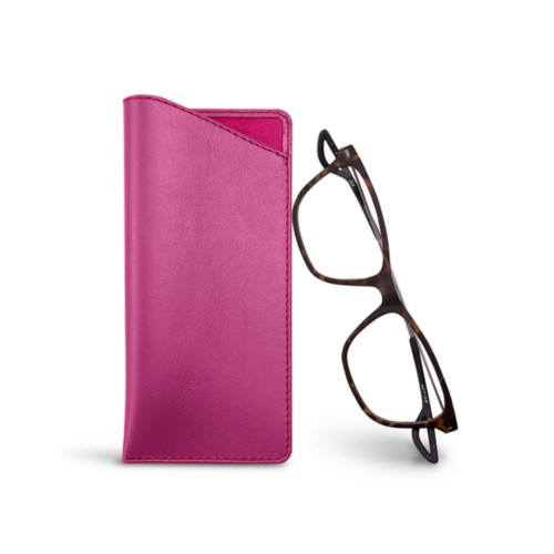 Thin glasses cases - Fuchsia  - Smooth Leather