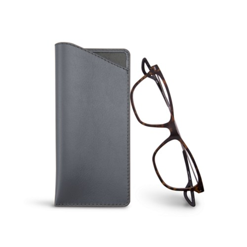 Thin glasses cases - Mouse-Grey - Smooth Leather