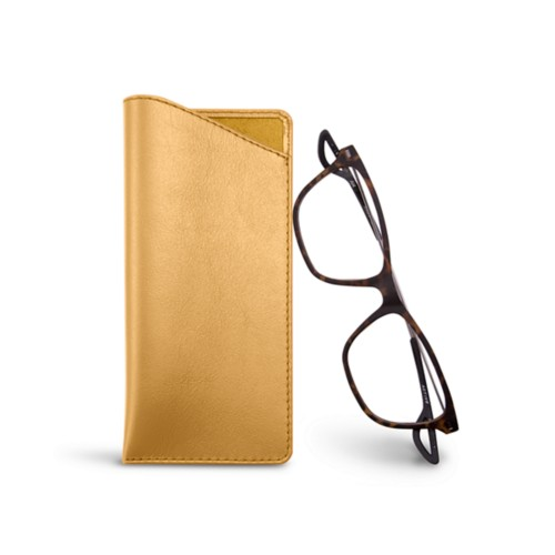 Thin glasses cases - Mustard Yellow - Smooth Leather