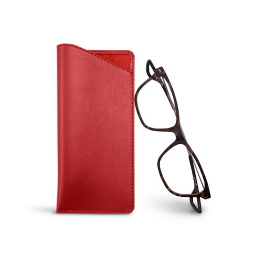 Thin glasses cases - Red - Smooth Leather